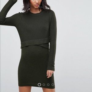 Sweater Dress Long Sleeve Bodycon Dark Olive